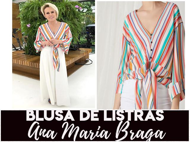 A blusa com decote e listras em V da Ana Maria Braga