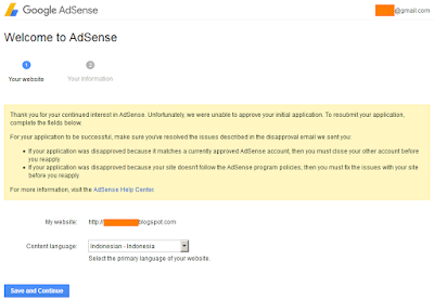 Can not change website address for Google AdSesnse Aplication