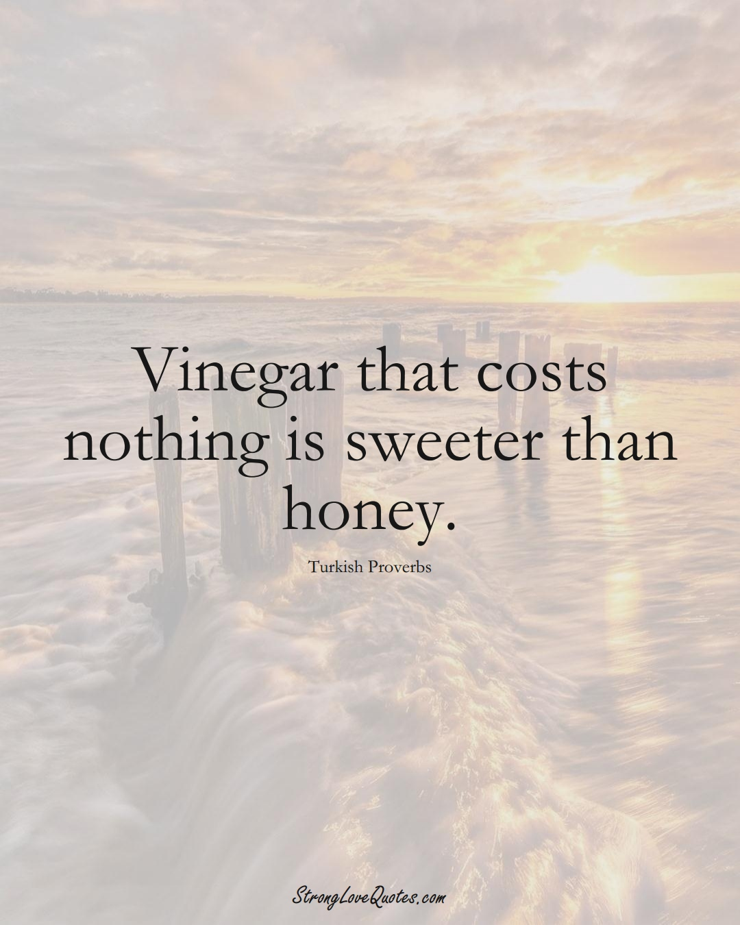 Vinegar that costs nothing is sweeter than honey. (Turkish Sayings);  #MiddleEasternSayings