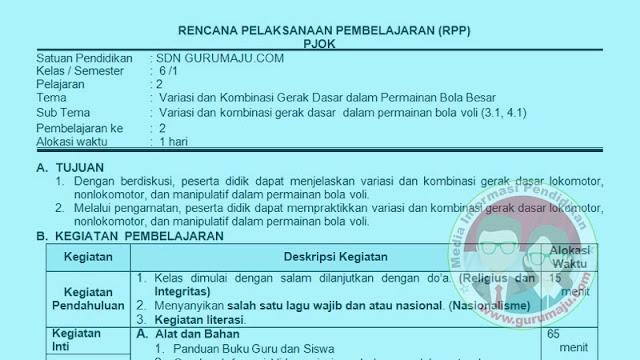 RPP PJOK 1 Lembar Semester 1 Kelas 6 Tema 4 K13 Revisi 2021