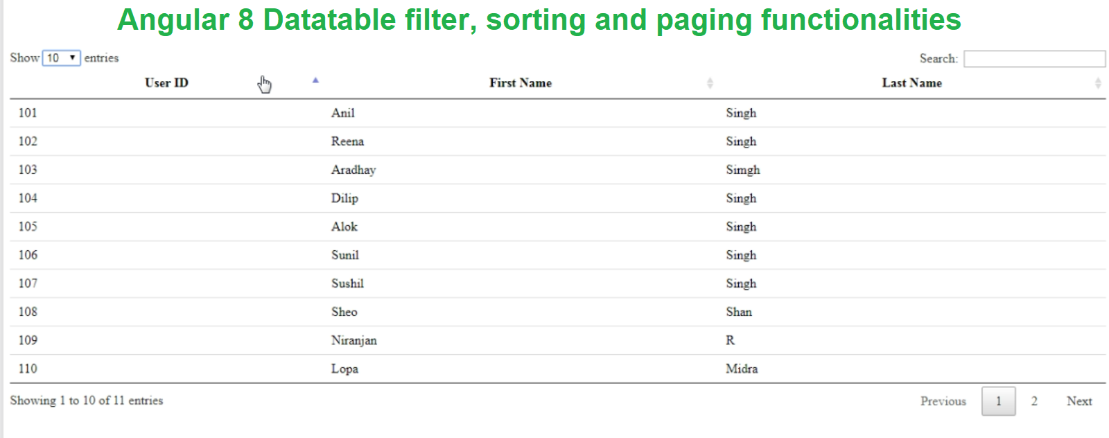 Angular 8 Datatables filter, sorting and paging