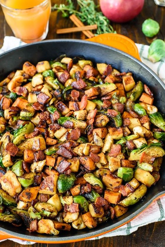 Harvest Chicken Skillet with Sweet Potatoes Brussels Sprouts and Sautéed Apples #recipes #dinnerrecipes #easydinnerrecipes #dinnerrecipeseasytomake #food #foodporn #healthy #yummy #instafood #foodie #delicious #dinner #breakfast #dessert #yum #lunch #vegan #cake #eatclean #homemade #diet #healthyfood #cleaneating #foodstagram