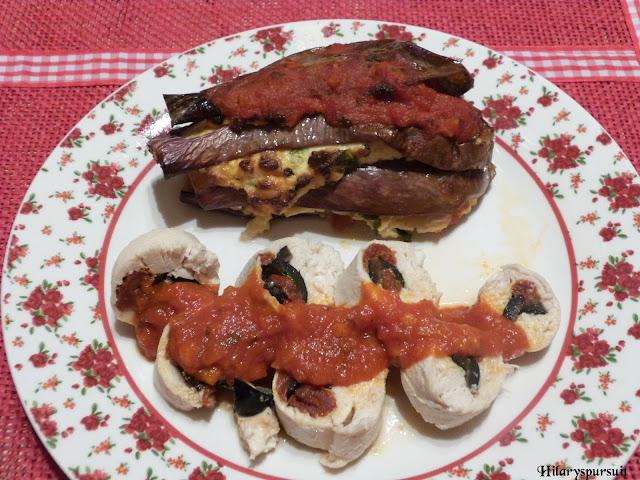 Roulés de poulet farcis aux saveurs du sud et son millefeuille d'aubergines