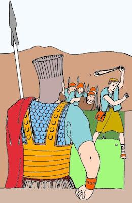 Davide sfida il gigante Golia