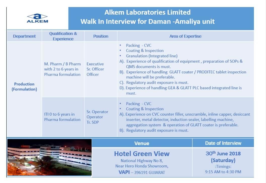 Production job at Alkem Laboratories Limited