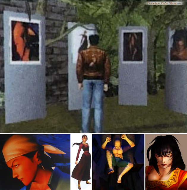 Some of the Shenmue art on display in the deom: Ren, Xiuying, Chai and Niao Sun.