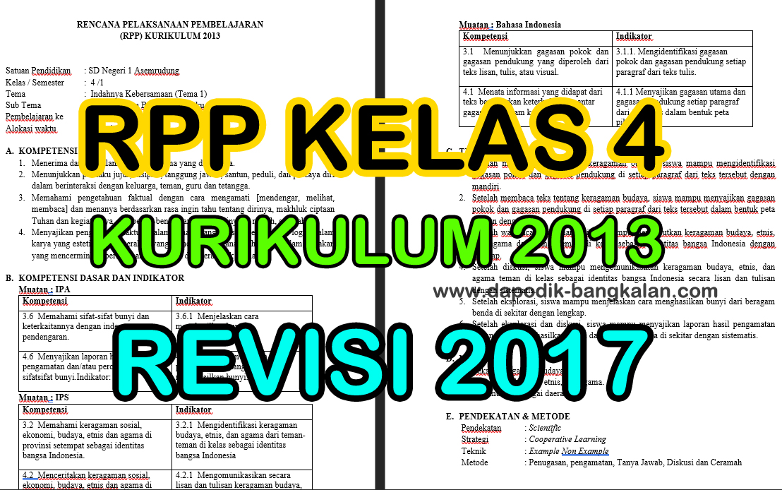 Download Rpp Kelas 4 Kurikulum 2013 K13 Revisi Tahun 2017 Semester Satu Ganjil