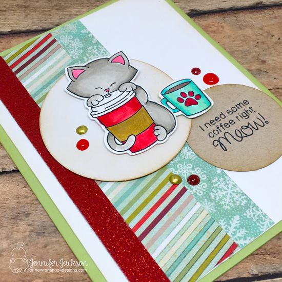 Winter Coffee Lovers Blog Hop! Cat and Coffee Card by Jennifer Jackson | Newton Loves Coffee Stamp set by Newton's Nook Designs #newtonsnook