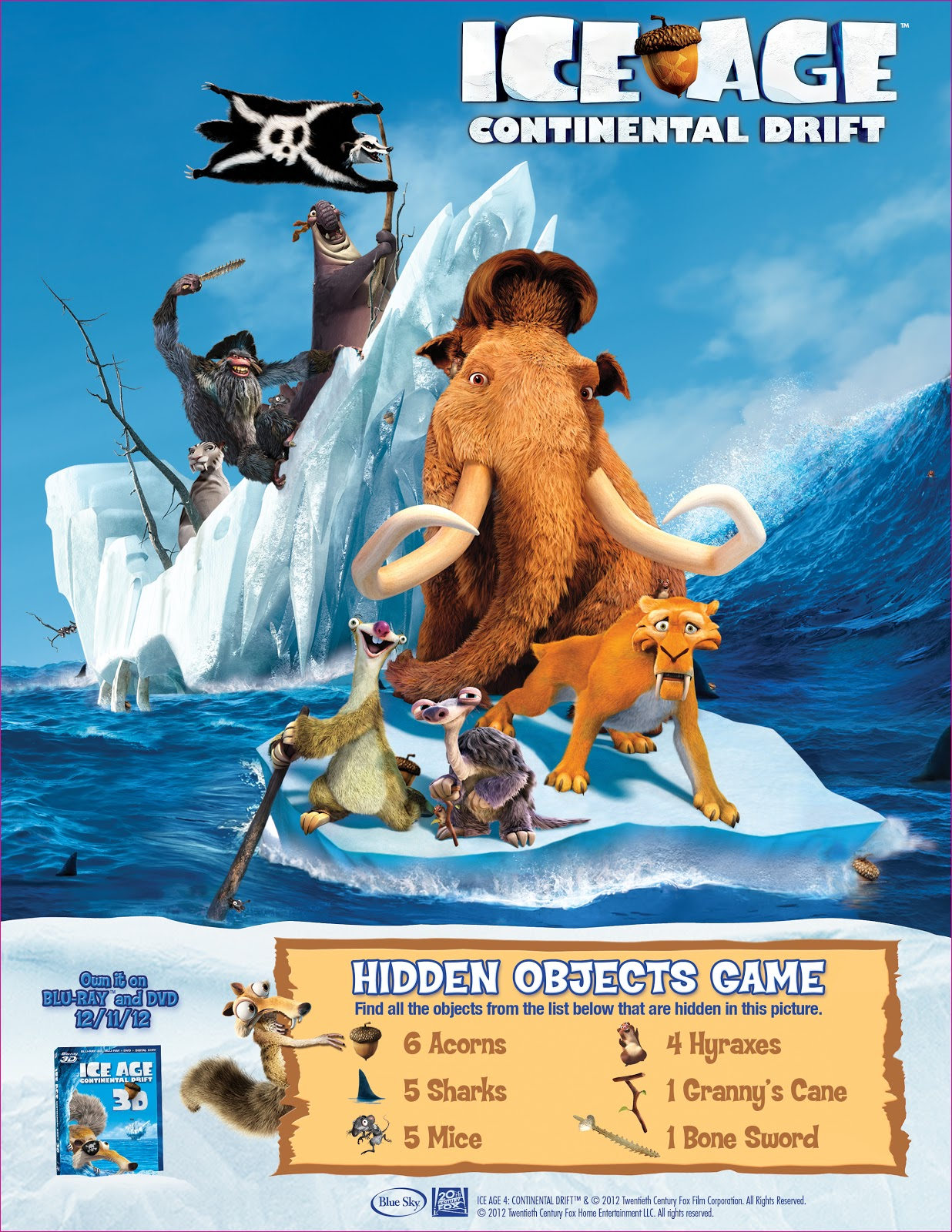 Free Ice Age Continental Drift Holiday E Card And Printable Activity Sheets