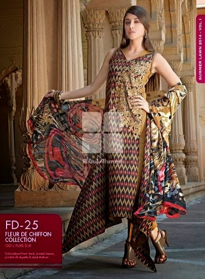 Gul Ahmed Fancy Lawn Collection 2014 Spring Summer