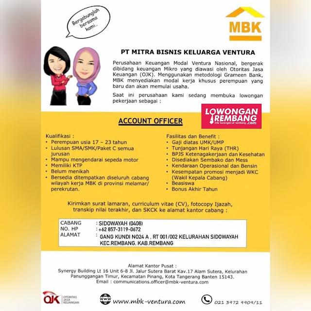 Lowongan Kerja Account Officer PT Mitra Bisnis Keluarga Ventura Rembang
