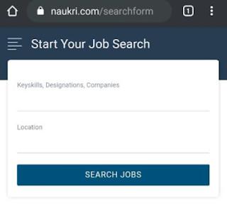 Naukri Search Form Page