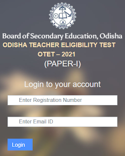 OTET Admit card download page