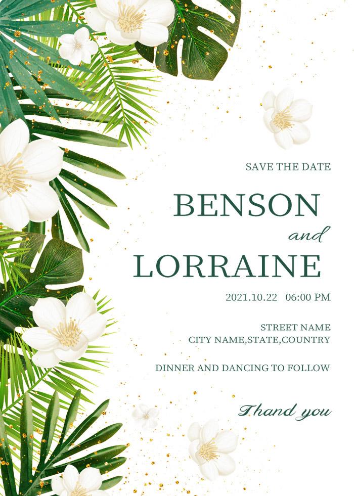Simple Elegant White Floral Wedding Invitation