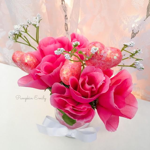 DIY Dollar Tree Valentines Flower Arrangement