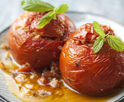 Tomatoes stuffed with ham and herbs