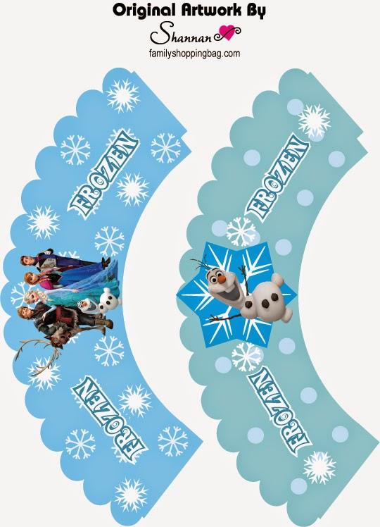 Wrappers para Cupcake de Frozen para Imprimir Gratis.