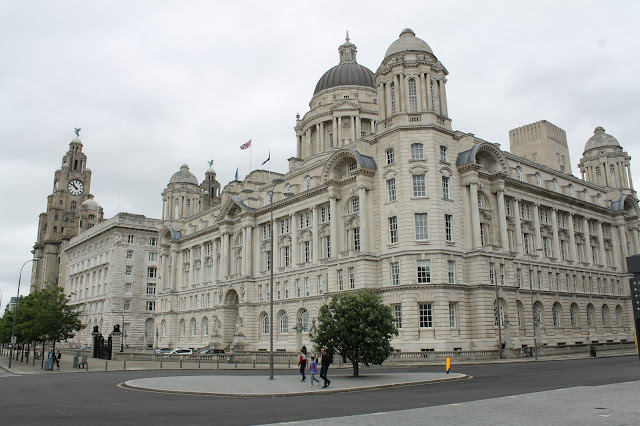 Three Graces Liverpool waterfront Pier Head River Mersey