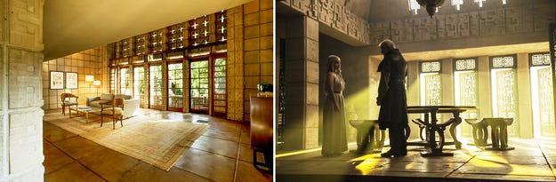 Bagian dalam Rumah Millard milik Frank Lloyd Wright secara jelas direferensikan di dalam rumah piramidal Daenerys; gambar via Monica Ponjavić (kiri dan kanan).