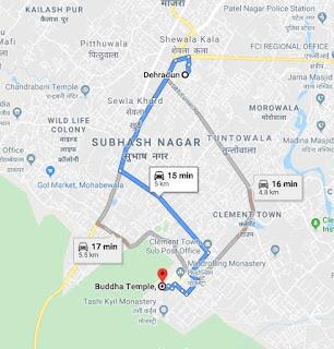 Map to reach Buddha temple