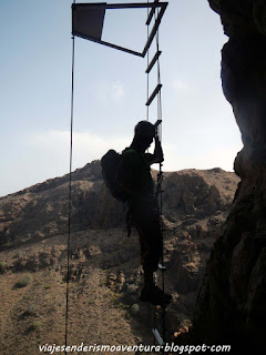 Escalera vertical en la vía ferrata Jesús Beitia