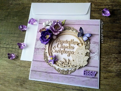 Kartka na chrzest w barwach fioletu