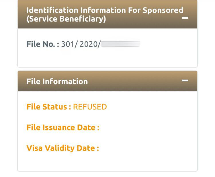 Visa rejection status