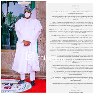 """We Can't """"Continue"""" With Bad Governance - PDP Tells Buhari. APC Says Mr President Has Been Lethargic"""