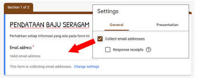 Collect email addreses Google form
