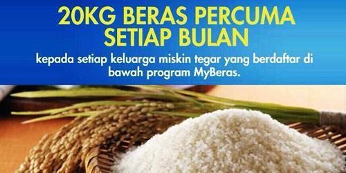 Manfaat Program MyBeras beri bantuan 20kg beras percuma setiap bulan kepada keluarga miskin tegar, senarai penerima program myberas