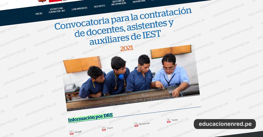 MINEDU: Cronograma y Plazas para Concurso de Contratación Docente, Asistentes y Auxiliares IEST 2021 [ACTUALIZADO MARZO]