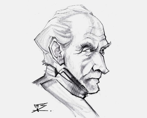 Desenho de Ionut Bucur retratando a personagem Tywin Lannister, da série de TV Game of Thrones