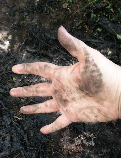 Julie's dirty hand