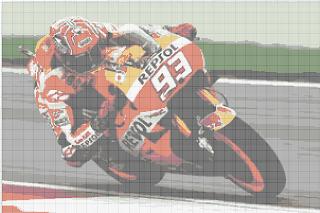 Gambar Pola Kristik Pebalap Motor-Marc Marquez - Free Cross Stitch Pattern