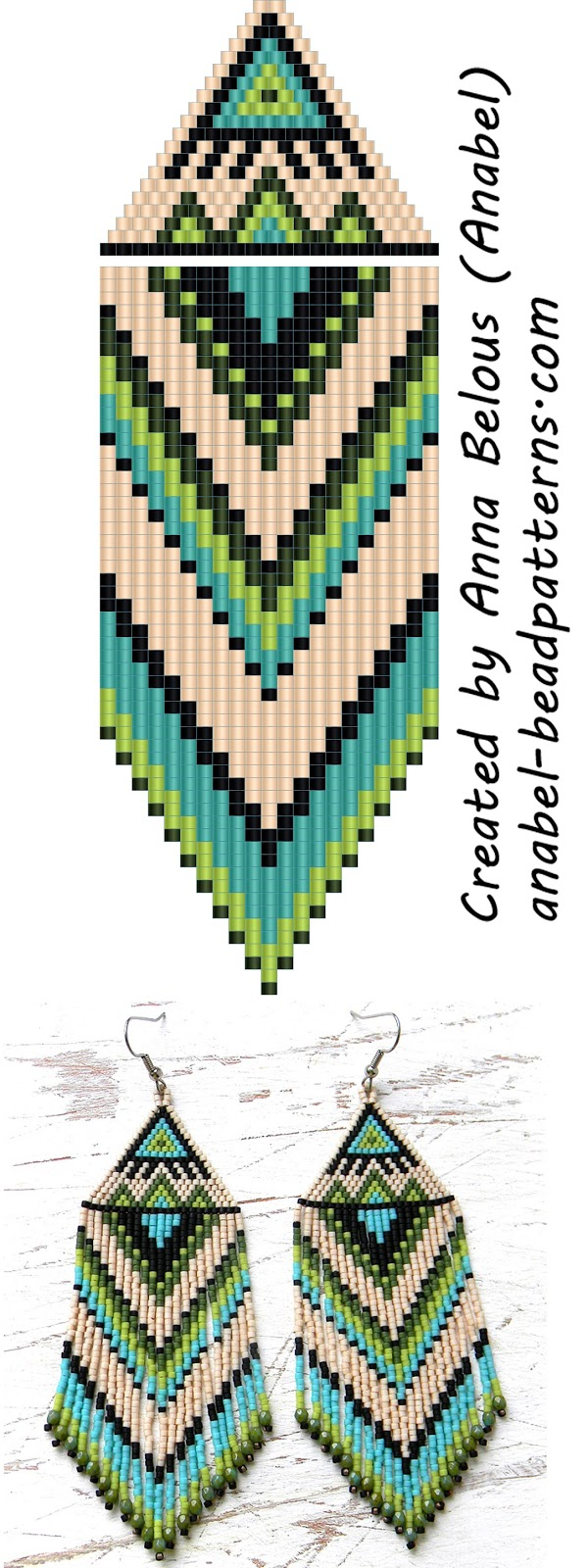 Схема серег из бисера -  Beaded Earrings Pattern - Peyote / Brick Stitch