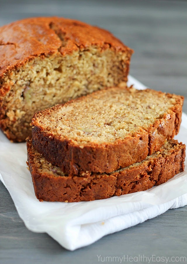 Healthier Banana Bread (white whole wheat flour and Greek yogurt)