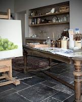 artists studio image via Antiek Amber (be) as seen on linenandlavender.net - http://www.linenandlavender.net/2013/07/artists-studio.html