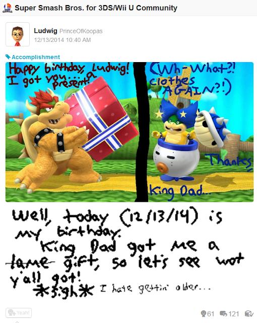 Super Smash Bros. For Wii U Bowser Ludwig Von Koopa happy birthday present Blue Shell
