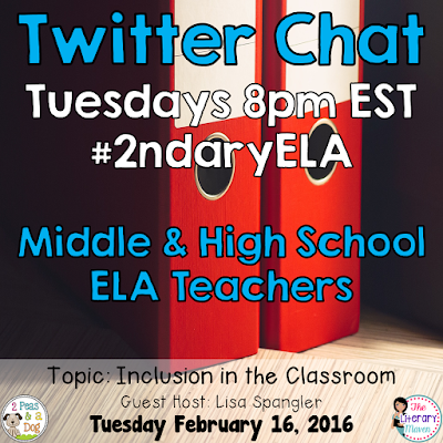 Join secondary English Language Arts teachers Tuesday evenings at 8 pm EST on Twitter. This week's chat will focus on inclusion in the ELA classroom.