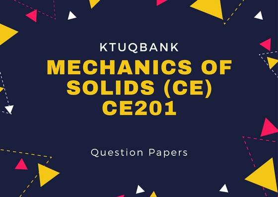 Mechanics of Solids | CE201 | Question Papers (2015 batch)