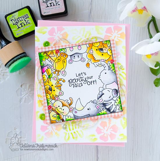 Zoo Birthday card by Tatiana Trafimovich | Zoo Party Stamp Set and Hibiscus Stencil Set by Newton's Nook Designs #newtonsnook #handmade