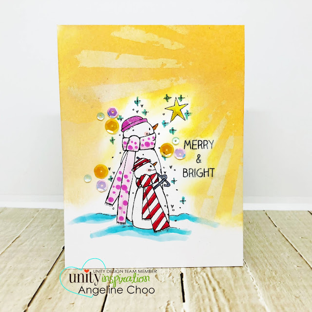 ScrappyScrappy: July Blog Hop with Unity Stamp - Star Burst Christmas Card #scrappyscrappy #unitystampco #tyoutube #quicktipvideo #card #cardmaking #craft #crafting #christmas #christmascard #timholtz #distressoxide #snowman #starburst #merryandbright #cpicmarkers