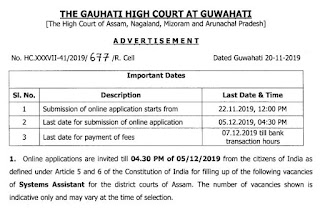 Gauhati High Court (GHC) System Assistant Previous Paper and Syllabus in Hindi