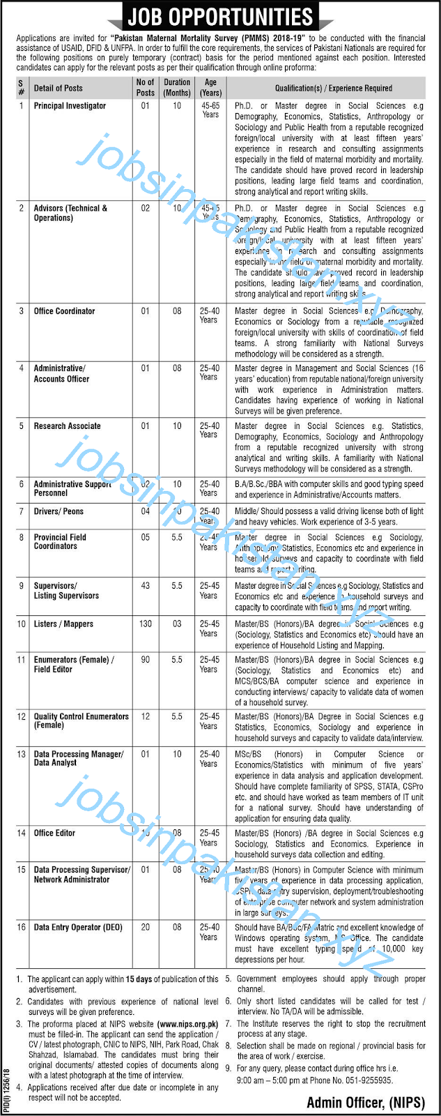 PMMS Jobs 2018 - Pakistan Maternal Mortality Survey