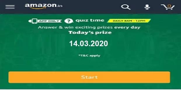 टुडेज अमेजन क्विज आंसर Today's Amazon Quiz Answers on 14.03.2020