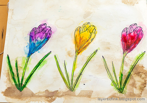Layers of ink - Colorful Floral Crocus Tutorial by Anna-Karin Evaldsson.