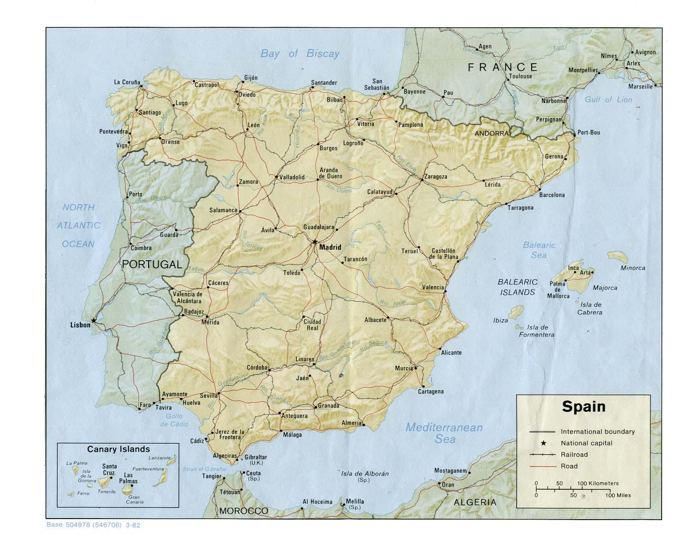Kaart Spanje Vakantie Provincies Kaart Spanje En Madrid