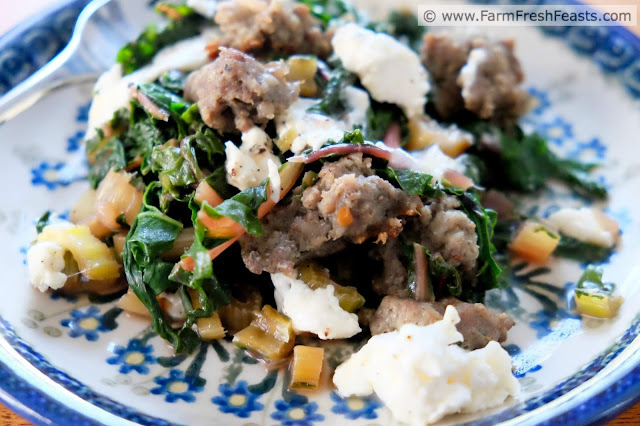 A low carb meal of sausage sautéed with Swiss chard and topped with creamy burrata cheese.