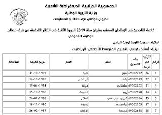 نتائج الامتحان المهني الدورة الثانية 2019 لرتبة استاذ رئيسي في التعليم المتوسط لجميع المواد