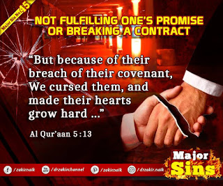 MAJOR SIN. 45.2. NOT FULFILLING ONE'S PROMISE OR BREAKING A CONTRACT